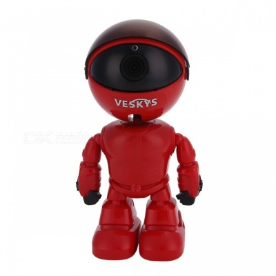VESKYS UK Plug 1080P HD Wi-Fi 2.0MP Wireless IP Robot Camera P2P Home Security Network Baby Monitor Two Way Audio - REd