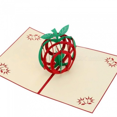 3D Apple Style Paper Christmas Greeting Gift Card - Red
