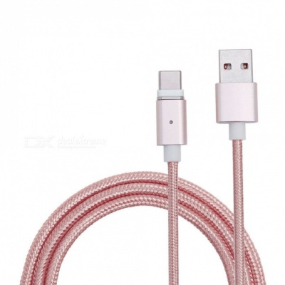 Universal Micro USB to USB Type-C Magnetic Data Charging Cable for Smartphones - Rose Gold (1m)