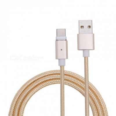 Universal Micro USB to USB Type-C Magnetic Data Charging Cable for Smartphones - Golden (1m)