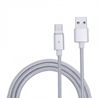 Universal Micro USB to USB Type-C Magnetic Data Charging Cable for Smartphones - Silver (1m)
