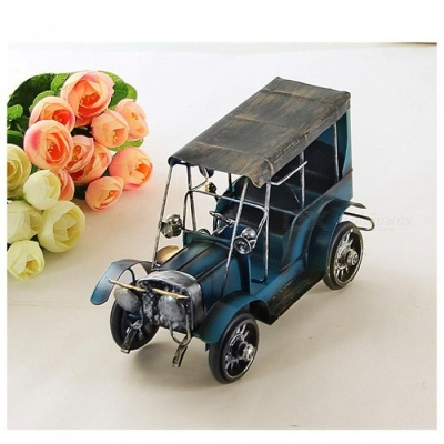 ZHAOYAO Vintage and Nostalgic Iron Metal Car Model Decoration - Blue
