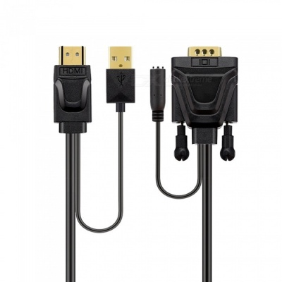 HDMI To VGA Cable with Audio Jack Power Supply High-Definition Cable Connector To Connect TV Display Box Conversion Line