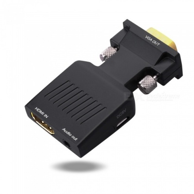 HDMI In to VGA Out with Audio Port Adapter - Black