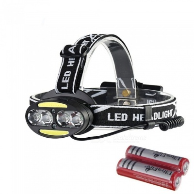 AIBBER TONE IR Sensor USB Rechargeable Headlamp 4-LED XM-L T6 2-COB Headlight with Battery