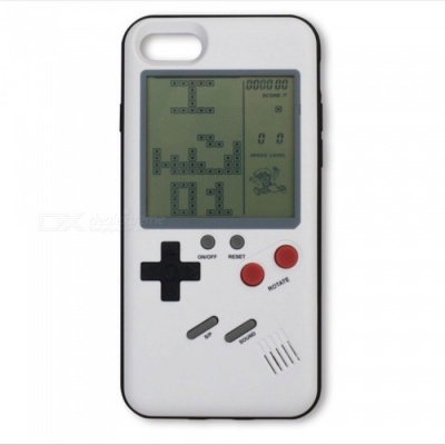 Retro Style Tetris Game Console Phone Shell Case, Back Cover for Apple IPHONE 7, 8 - White
