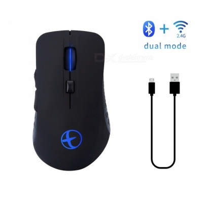 MODAO Rechargeable Bluetooth 4.02.4GHz Dual Mode Wireless Gaming Mouse for PC, Mac, Laptop, Android Tablet (Black)