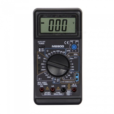 M890G LCD Handheld Digital Multimeter for Home and Car - Black