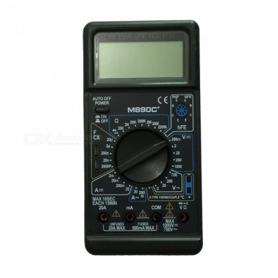 M890C+ LCD Handheld Digital Multimeter for Home and Car - Black + White
