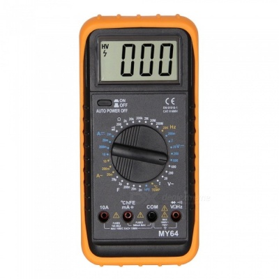 MY64 LCD Handheld Digital Multimeter for Home and Car - Black