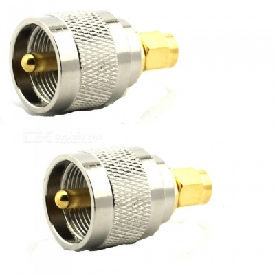 2PCS UHF Male to SMA Male PL-259 PL259 Connector RF Coax Coaxial Adapter