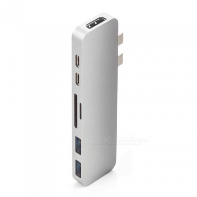 7-in-1 4K HD Dual Type-C HUB Adapter, USB-C to HDMI, SD / TF Card Reader with PD Charging - Silver