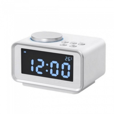 Multi-function FM Radio Alarm Clock Snooze Function Indoor Thermometer Dual USB Port Charger LCD Table Clock - White (EU Plug)