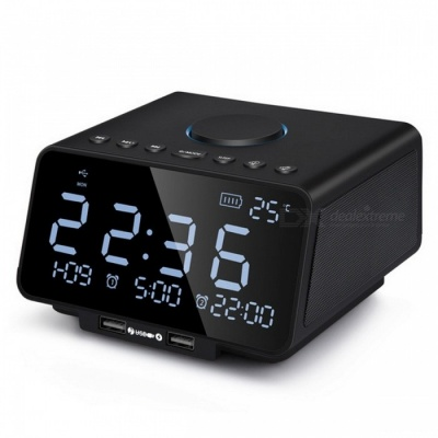 LED Digital Alarm Clock with FM Radio/Wireless Bluetooth Player/USB Fast Charge Port, /TF Card Play/Temperature and Date Display