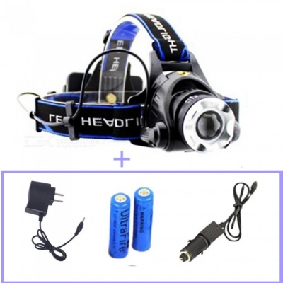 ZHAOYAO XM-L T6 LED 1000LM Headlight Rechargeable Headlamp for Camping Hunting Fishing - With Battery + Charger