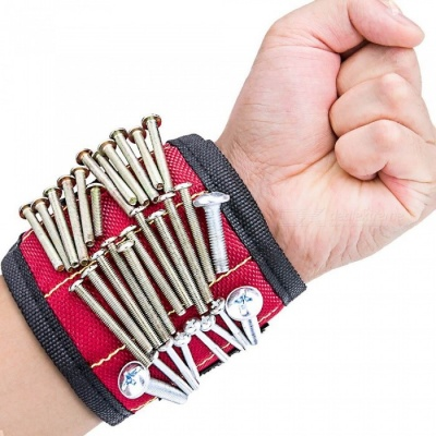YENISEI Handy Super Magnetic Wristband for Keeping Screws, Nails and Tools - Red