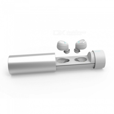 JEDX Mini Bluetooth Earphone, TWS Binaural Twins Stereo Wireless Headset with Charging Box - White