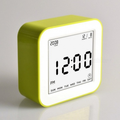 Large LCD Display Square Flip Type Digital Alarm Clock with Automatic Backlit Function - Green