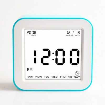Large LCD Display Square Flip Type Digital Alarm Clock with Automatic Backlit Function - Blue