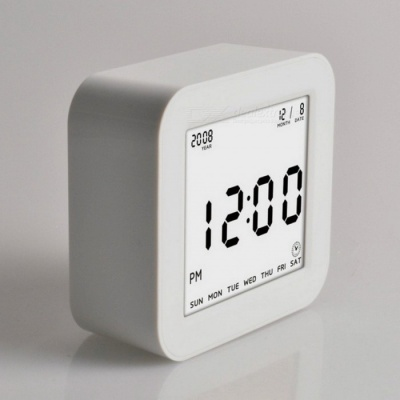 Large LCD Display Square Flip Type Digital Alarm Clock with Automatic Backlit Function - White