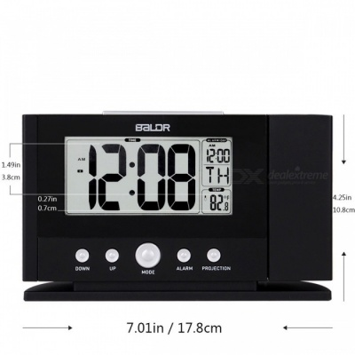 Baldr Digital Projection Clock, Ceiling Wall Alarm Snooze Timer Watch, Constant Time Projector LCD Thermometer Clock (US Plug)