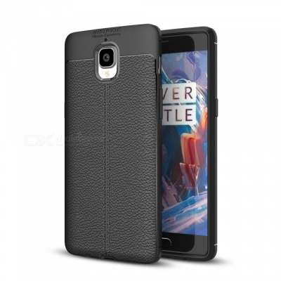 Dayspirit Lichee Pattern Protective TPU Back Cover Case for OnePlus 3, 3T, 1+3 - Black