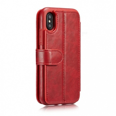 Measy Fashionable PU Leather Wallet Case for IPHONE X - Red