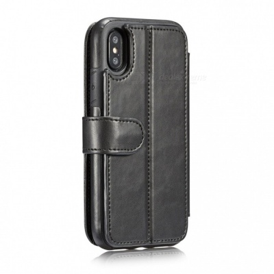 Measy Fashionable PU Leather Wallet Case for IPHONE X - Black