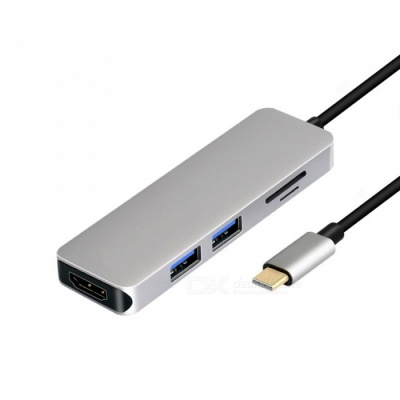 USB Type-C to HDMI Converter for Huawei Mate 10 Connect to TV Projector - Silvery Grey