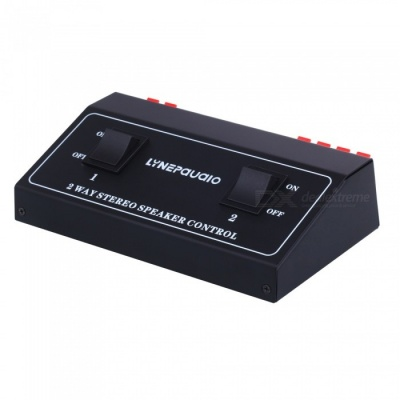 1 In 2 Out Passive Speaker Switch Distributor, 2 Channel Stereo Speaker Control - Black + Red