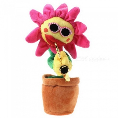 Singing Dancing Saxophone Sunflower, Soft Plush Potted Funny Creative Electric Toy - Rose Red