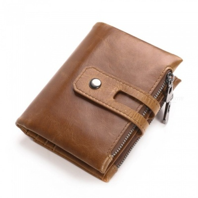 GUBINTU Retro Casual Folding Leather Wallet for Men with Double Zippers - Light Brown