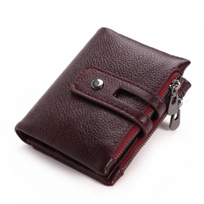 GUBINTU Retro Casual Folding Leather Wallet for Men with Double Zippers - Red