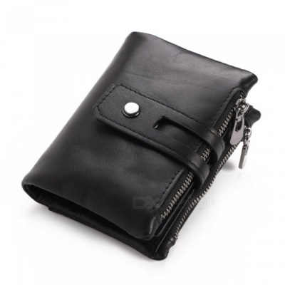 GUBINTU Retro Casual Folding Leather Wallet for Men with Double Zippers - Black