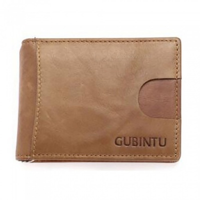 GUBINTU Folding Leather Wallet with Coin Pocket for Men - Coffee