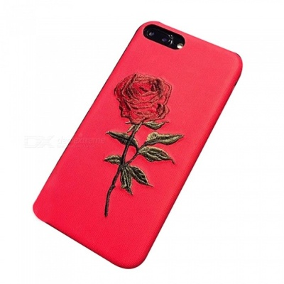 Embroidered Flower Pattern Protective Phone Case for IPHONE 6S - Red