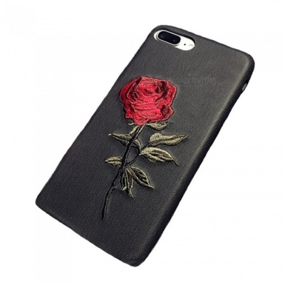 Embroidered Flower Pattern Protective Phone Case for IPHONE 6S - Black
