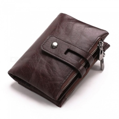 GUBINTU Retro Casual Folding Leather Wallet for Men with Double Zippers - Dark Brown