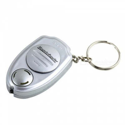 ZHAOYAO Mini Portable Ultrasonic Electronic Mosquito Repellent Keychain - Silver