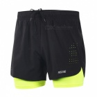 ARSUXEO Casual Loose Men's Running Shorts with Longer Liner for Active Training Exercise Sports Jogging - Green + Black (XL)