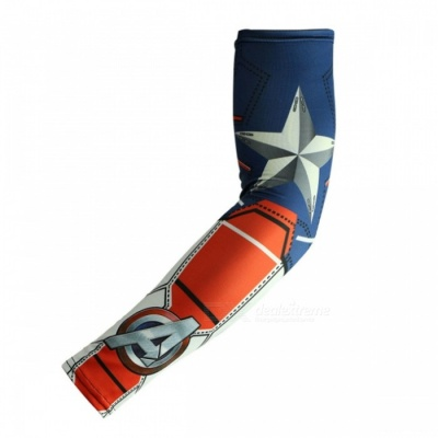 ARSUXEO Portable Flexible Captain America Printed Pattern Armwarmer MTB Bike Bicycle Cycling Sleeves (1 Pair)