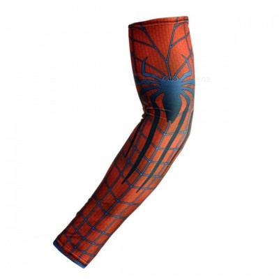 ARSUXEO Portable Flexible Red Spider Printed Pattern Armwarmer MTB Bike Bicycle Cycling Sleeves (1 Pair)
