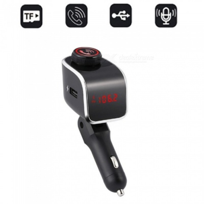 Bluetooth Car Cigarette Lighter FM Transmitter with MP3 Player, Hands-Free Call, USB Port, TF Card Slot