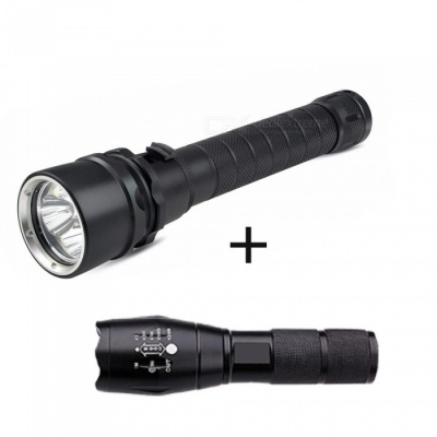ZHAOYAO XML-L2 Outdoor IP68 Waterproof 3-LED Diving Flashlight + Rechargeable Bright Flashlight - Black