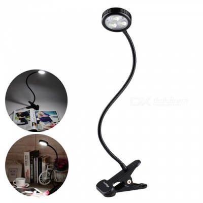 YouOKLight Flexible Goose Neck Adjustable 3W LED Clip Light, US Plug Clip-on Desk Lamp for Bed Computer and Music Stand