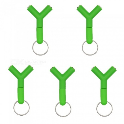 OJADE 1 to 2 Y Shape Earphone Cable Adapter, Headphone Accessory - Green (5 PCS)