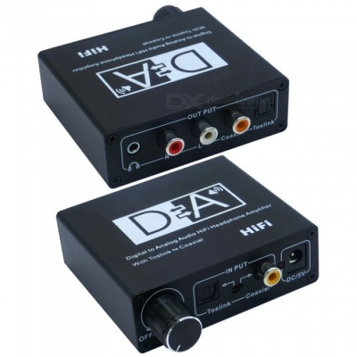3.5mm Digital to Analog Audio Converter Hi-Fi Headphone Amplifier with Volume Control