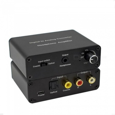 Digital to Analog Audio Converter Headphone Amplifier with Volume Control - Black
