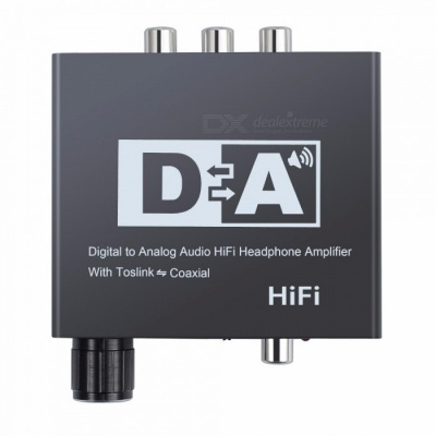 Digital to Analog Audio Converter Hi-Fi 3.5mm Jack Headphone Amplifier with Volume Control, DC Power Port