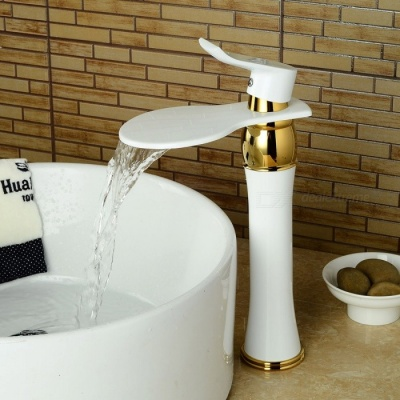 F-0721W Contemporary Brass White Spray Paint Single Handle One-Hole with Ceramic Valve, Bathroom Sink Faucet
